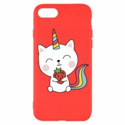 Чохол для iPhone SE 2020 Cat unicorn and strawberries