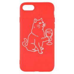 Чохол для iPhone SE 2020 Cat with a glass of wine