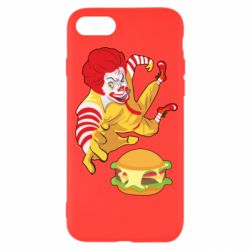 Чехол для iPhone SE 2020 Clown in flight with a burger