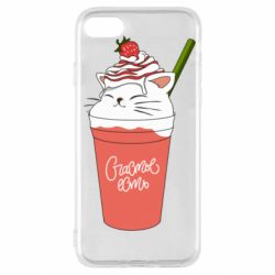 Чехол для iPhone SE 2020 Cocktail cat and strawberry