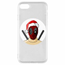 Чехол для iPhone SE 2020 Deadpool in New Year's hat