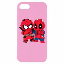 Чехол для iPhone SE 2020 Дэдпул и Человек паук