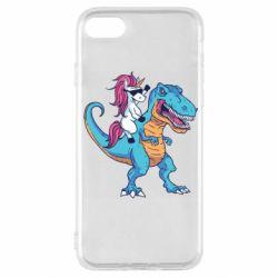 Чохол для iPhone SE 2020 Єдиноріг і динозавр