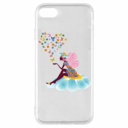 Чехол для iPhone SE 2020 Fairy sits on a flower with butterflies