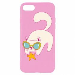 Чехол для iPhone SE 2020 Funny cat with star