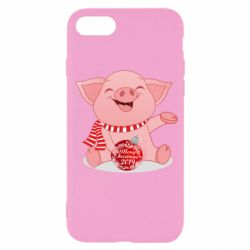 Чохол для iPhone SE 2020 Funny pig with a Christmas toy