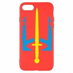 Чохол для iPhone SE 2020 Герб України з автоматами та мечем