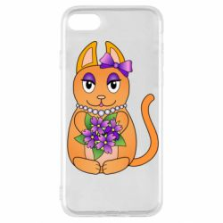 Чехол для iPhone SE 2020 Girl cat with flowers