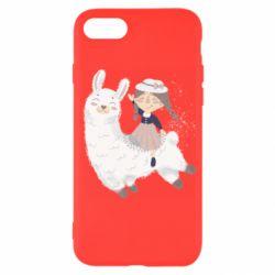 Чохол для iPhone SE 2020 Girl with a lama