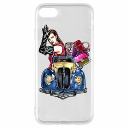 Чехол для iPhone SE 2020 Girl with a retro car