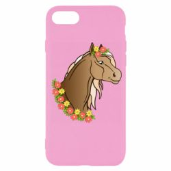 Чехол для iPhone SE 2020 Horse and flowers art