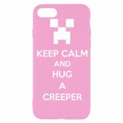 Чехол для iPhone SE 2020 KEEP CALM and HUG A CREEPER