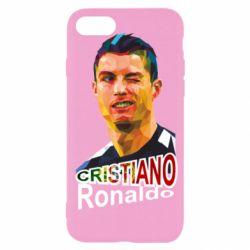 Чохол для iPhone SE 2020 Крістіано Роналдо, полігональний портрет