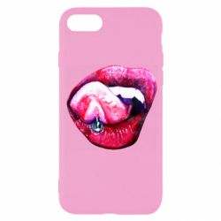 Чехол для iPhone SE 2020 Lips and tongue with earring