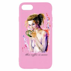 Чехол для iPhone SE 2020 Naked girl with coffee
