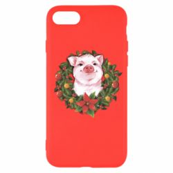 Чохол для iPhone SE 2020 Pig with a Christmas wreath