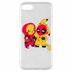 Чехол для iPhone SE 2020 Pikachu and deadpool