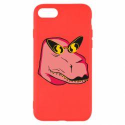Чохол для iPhone SE 2020 Pink dinosaur with glasses head