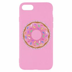 Чехол для iPhone SE 2020 Pink donut on a background of patterns