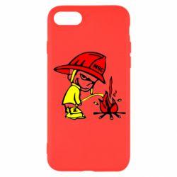 Чехол для iPhone SE 2020 Писающий хулиган-пожарный