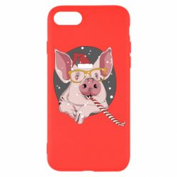 Чохол для iPhone SE 2020 Portrait of the pink Pig in a red Santa's cap