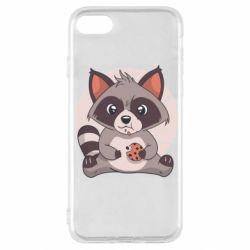 Чохол для iPhone SE 2020 Raccoon with cookies