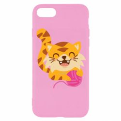 Чехол для iPhone SE 2020 Red cat with a clew