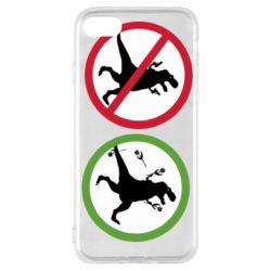 Чохол для iPhone SE 2020 Sign with a dinosaur with a gun and flowers