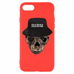 Чехол для iPhone SE 2020 Skull in hat and text
