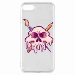 Чохол для iPhone SE 2020 Skull with brush and pencil
