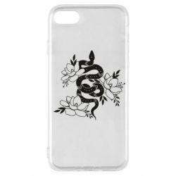 Чохол для iPhone SE 2020 Snake with flowers