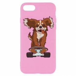 Чехол для iPhone SE 2020 Собака Кавалер на Скейте