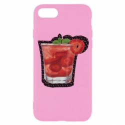 Чохол для iPhone SE 2020 Strawberry cocktail on a background of flowers