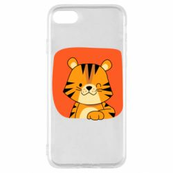 Чехол для iPhone SE 2020 Striped tiger with smile