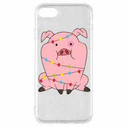 Чохол для iPhone SE 2020 Свиня обмотана гірляндою