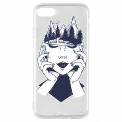 Чехол для iPhone SE 2020 Woman's head and mountains