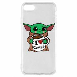 Чехол для iPhone SE 2020 Yoda and a mug with the inscription I love coffee