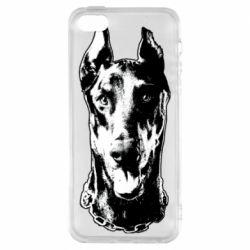 Чохол для iPhone SE Доберман чорний