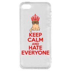Чехол для iPhone SE KEEP CALM and HATE EVERYONE