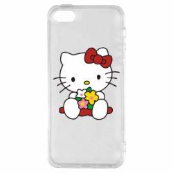 Чехол для iPhone SE Kitty с букетиком