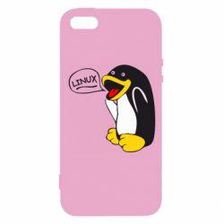Чехол для iPhone SE Пингвин Линукс