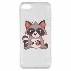 Чохол для iPhone SE Raccoon with cookies