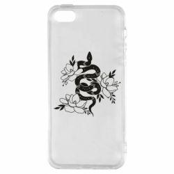Чохол для iPhone SE Snake with flowers