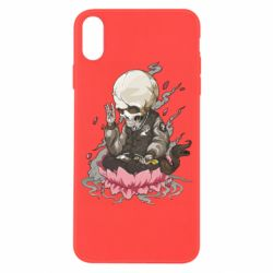 Чехол для iPhone X/Xs A skeleton sitting on a lotus