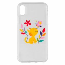 Чехол для iPhone X/Xs Cat, Flowers and Butterfly