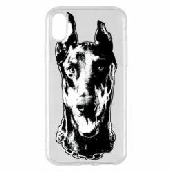 Чохол для iPhone X/Xs Доберман чорний