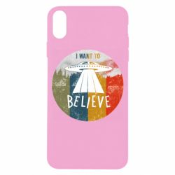 Чехол для iPhone X/Xs I want to believe text