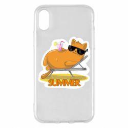 Чохол для iPhone X/Xs Котик на пляжі