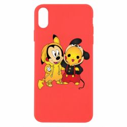 Чехол для iPhone X/Xs Mickey and Pikachu