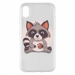 Чохол для iPhone X/Xs Raccoon with cookies